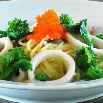 クリームパスタ 菜の花 するめいか