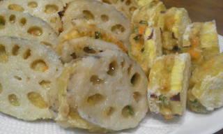 秋の味覚 根菜 レンコンはさみ揚げ
